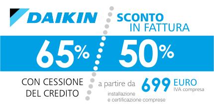 Ecobonus Daikin, sconto in fattura immediato del 65% o del 50% previsto dal Decreto Rilancio sui climatizzatori compresa installazione e certificazione gratuita